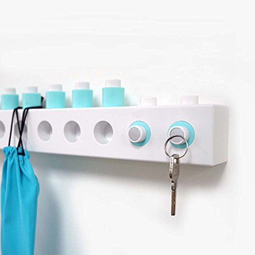 DIY Building Block Hooks, Free to Adjust Strong 3M Self-adhesive Coat Hook Key Hook Wall Mounted Organizer with Two Magnetic Hanger for Keys Hats Coats Handbag, Blue