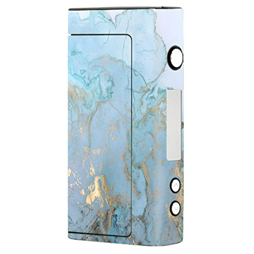 Skin Decal Vinyl Wrap for Sigelei Fuchai 200W TC Vape Mod Skins Stickers Cover / Teal Blue Gold White Marble Granite