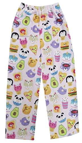 iscream Big Girls Fun Print Silky Soft Plush Pants - Foodie Animals, Small (6/8)