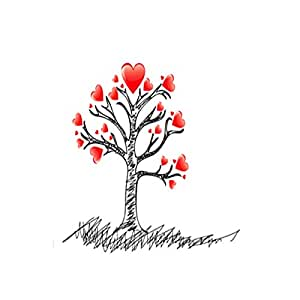 DIY Creative Red Love Heart Tree Wall Sticker Removable Wall Decals Kid Room Living Room Bedroom Decors