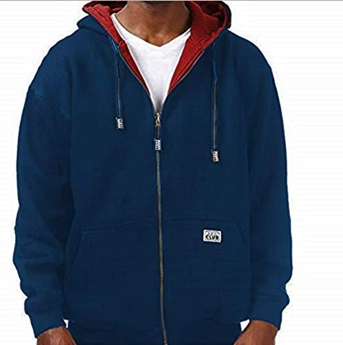 Pro Club Men's Full Zip Reversible Hoodie, Navy Fleece/Red Thermal, Small