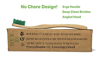 Yowza! Ergonomic Bamboo Toothbrush, BPA Free Soft Bristles, Uniquely Numbered, Natural Organic Eco Vegan Friendly Biodegradable Toothbrush for Adults, 4 Pack