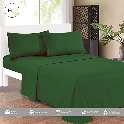 (KING HOME Smooth 1800 Soft Bed Sheet Set with One Flat Sheet, One Fitted Sheet, Two Pillowcase for Double Bed, Soft Microfiber, Wrinkle Resistant, Hypoallergenic, Full, Emerald)
