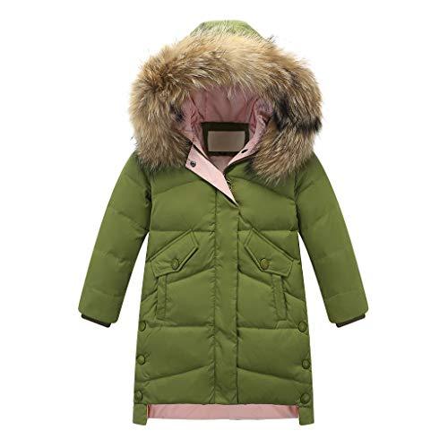 HebeTop Big Girls Boys Winter Parka Down Coat Puffer Jacket Padded Overcoat with Fur Hood (4Y-12Y) Green