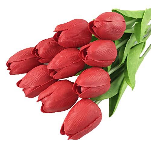 (Respctful✿20 pcs Artificial Tulip Flowers Fake Flower Home Wedding Bride Party Bouquets Garden Home Decor)