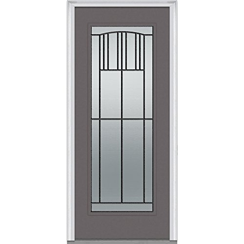 National Door Company Z007313R Fiberglass Smooth Dovetail Right Hand Prehung In-Swing Entry Door, Madison Decorative Glass, Full Lite, 32
