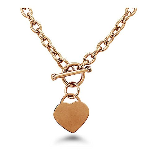 West Coast Jewelry Rose Gold Plated Stainless Steel Heart Tag Toggle Necklace 18 Inches
