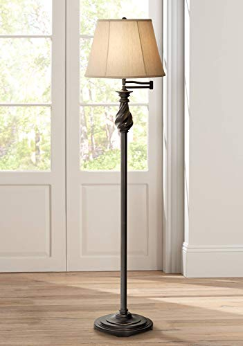 Traditional Swing Arm Floor Lamp Painted Black Bronze Swirl Font Faux Silk Beige Shade for Living Room Reading Office - Regency Hill ()