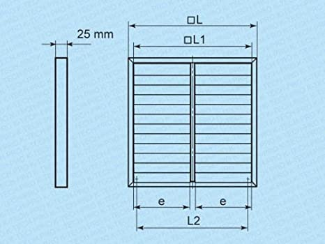 L/üftungsgitter Wetterschutzgitter Abluftgitter Aufputz mit Lamellen selbstschlie/ßend Gr/ö/ße 300x300mm