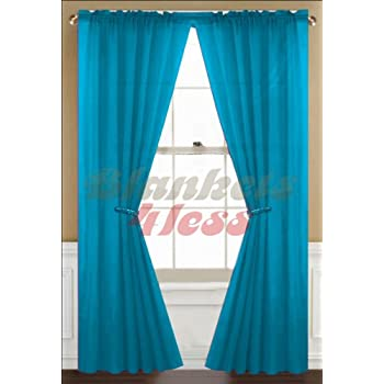 awad home fashion 2 panels solid neon turquoise sheer