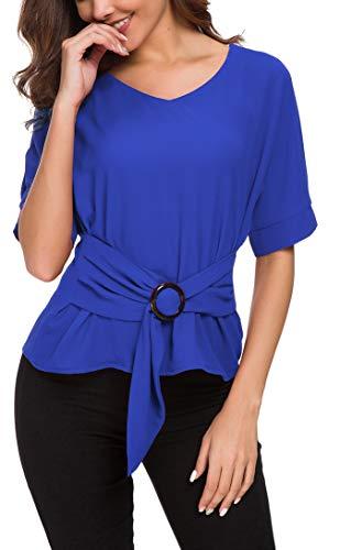ACONIYAWomens Tie Knot Casual Belted Blouse Elegant Long/Short Sleeve Shirt Work Tunic Tops (Blue, L)