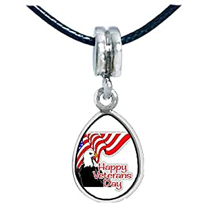 Chicforest Silver Plated Happy Veterans Day US flag eagle Photo Angel Tears Charm Beads Fits Pandora Charm