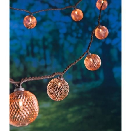 Better Homes and Gardens Rose Gold Metal Mesh String Lights, 10 count, Clear Incandescent Lights, Indoor and Outdoor! Great for Patios, Gazebos, Parties, and Weddings!