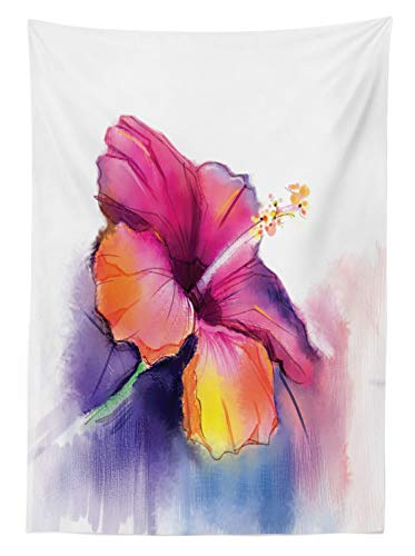"""Ambesonne Flower Tablecloth, Hibiscus Flower in Pastel Abstract Colorful Romantic Petal Pattern Artwork Print, Dining Room Kitchen Rectangular Table Cover, 60"""" X 84"""", Pink Tones"""