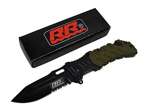 New Rogue River Tactical Military G10 Handle Black Spring Assisted Pocket Knife (Military Green)