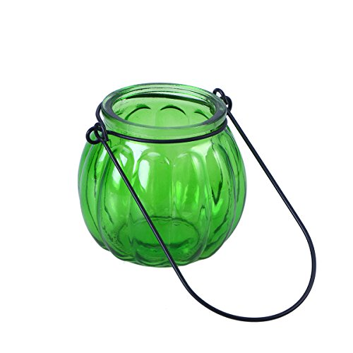 LEDMOMO Hanging Candle Holders, Pumpkin Glass Candle Holders Tealight Candle Holders Home Decoration for Party Wedding Decor (Green)