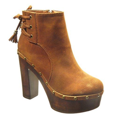 Angkorly - Zapatillas de Moda Botines zapatillas de plataforma altas mujer tachonado pompom fleco Talón Tacón ancho alto 12 CM - Camel
