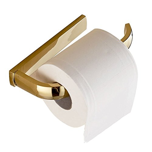 Hardware Accents Toilet Tissue Holder - Leyden Gold Finish Half Open Toilet Roll Paper Rail Holder Wall Mounted Brass Material Convenient Toilet Tissue Single Rail Holder