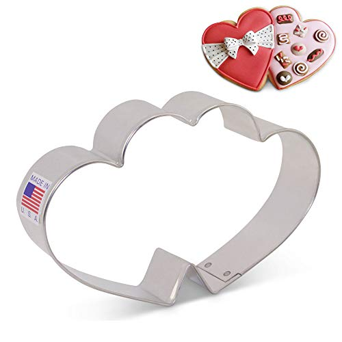 Double Heart Cookie Cutter by Flour Box Bakery - 4.75 Inch - Ann Clark - US Tin Plated Steel