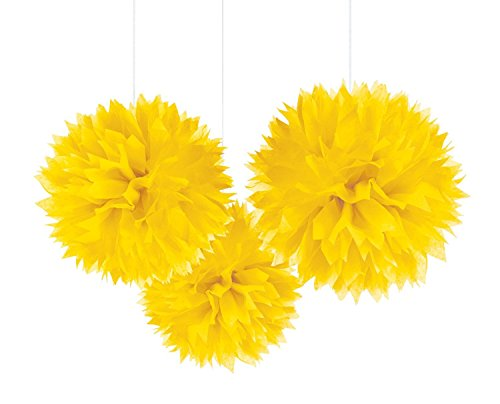 Unique Industries 16 Poms Large Fluffy Pom Pom Hanging Decorations Tissue Paper Pom Flowers For Celebrate Decoration Fluffy Hanging Lantern Party/Wedding Blooms Ball (Warm Yellow 3ct)