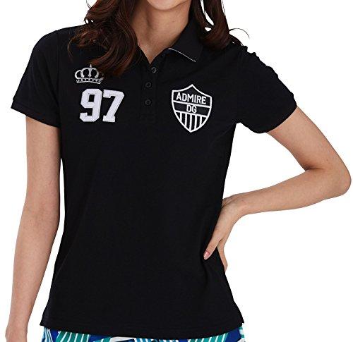 7439 BK L 襟ジャガード刺繍ポロシャツ ゴルフウェア レディース 大きいサイズ 鹿の子ポロ 半袖 ブラック