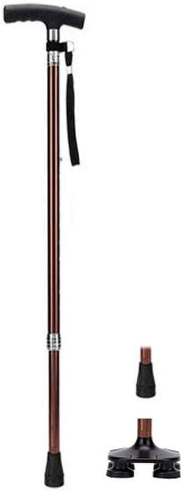 WONS Mayores de Caña Telescópica Muletas de Aluminio Walker 4-Legged Bastón Multifuncional Anti-Skid Muleta Práctico