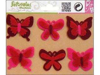 Feltables Fashion Embellishment Butterflies Red/Fuchsia 6pc