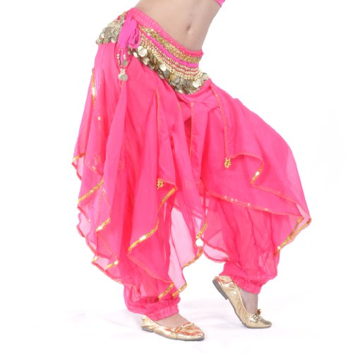 Belly Dancing Costumes Cheap (BellyLady Belly Dance Harem Pants Tribal Baggy Arabic Halloween Pants-ROSERED)