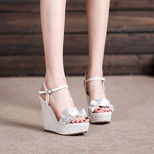Sandalen Elegante vrouwen Wedge Mode 12 cm Platform Hoge Hakken Peep teen Zomer Strass Bruiloft Schoenen