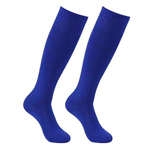Feelingway Unisex Football Socks, Adult Youth Royal Blue Solid Comfort Moisture-Wicking Soccer Baseball Team Long Tube Socks 2 Pairs