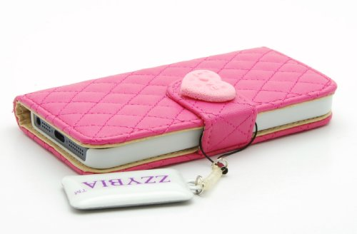ZZYBIA® IP5 QH Shocking Pink Leatherette Stand Case Card Holder Wallet for Apple Iphone 5 5s