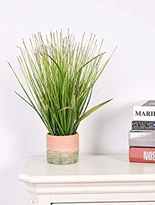 Artificial 18 inches Green PVC Grass Potted Plant, Authentic Looking Fake River Grass with Planter