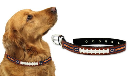 Chicago Bears Leather Football Lace Dog Collar - Small - Chicago En Outlets