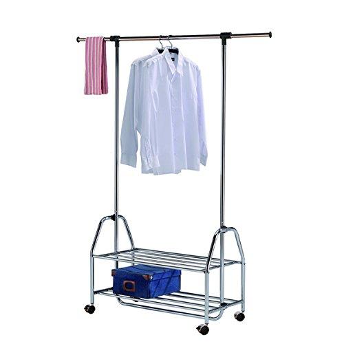 Everyday Home Single Bar Adjustable Rolling Garment Rack, Silver