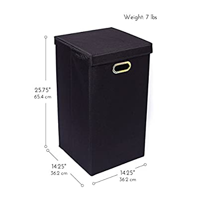BirdRock Home Single Laundry Hamper with Lid and Removable Liner - Linen - Easily Transport Laundry - Foldable Hamper - Cut Out Handles: Baby