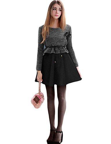 GSP-Damen Kleid - Übergrößen Übergröße / Sexy Patchwork Mini Baumwolle Rundhalsausschnitt