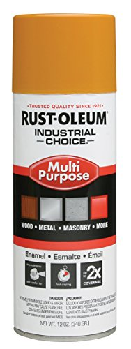 Rust-Oleum 1643830 School Bus Yellow 1600 System General Purpose Enamel Spray Paint, 16 fl. oz. container, 12 oz. weight fill, Can (Pack of 6)