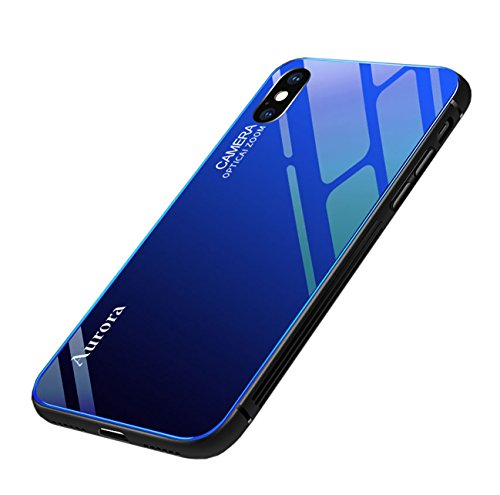 Seabaras iPhone Xs Max Case Gradient Color Aurora Tempered Glass Case 9H Blue Ray Back Cover Soft TPU Bumper Frame for iPhone Xs Max (Blue) - Blue Ray Covers