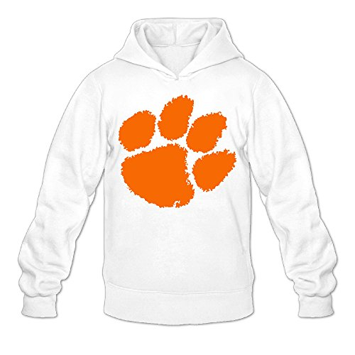 QK Clemson University Tiger Paw Logo Men's Athletic Hoodies M White