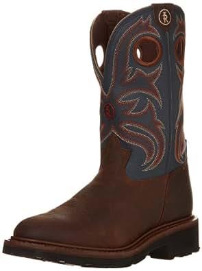 Tony Lama Boots Men's Crazy Horse Buffalo RR3208 Western Boot,Oak/Cadet Blue,7 EE US
