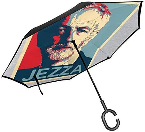 Jezza Jeremy Corbyn Hope Doppelschichtiger Invertierter Regenschirm für Auto Rückwärtsklappbar auf der Rückseite C-förmige Hände – leicht und Winddicht