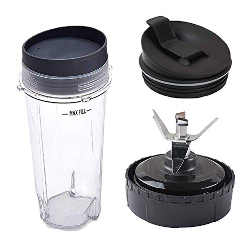 Replacement Parts for Nutri Ninja Blender, 16 oz Cup with Lid and Seal Lid Set of 2, Replacement Blade Assembly with 6 Fins on Bottom for Nutri Ninja Blender System BL770 BL771 BL773CO
