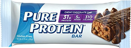 Pure Protein Bars, Healthy Low Carb Snacks, Chewy Chocolate Chip, 2.75 oz, 12 Count