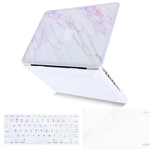 MOSISO Plastic Pattern Hard Case & Keyboard Cover & Screen Protector Only Compatible Old MacBook Pro 13 Inch (A1278 CD-ROM) Release Early 2012/2011/2010/2009/2008, Pink Marble