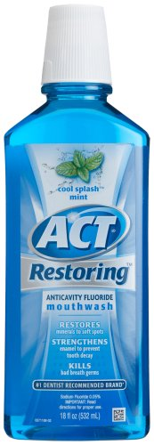 ACT Restoring Mouthwash, Cool Splash Mint, 18-Ounce Bottle (Pack of 4) - smallkitchenideas.us