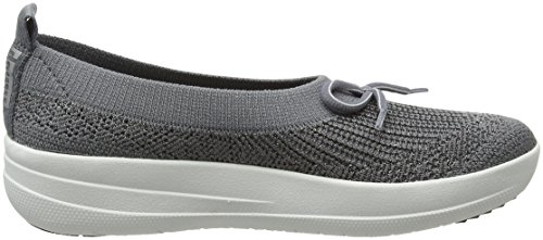 Fitflop Uberknit Ballerina With Bow-Metallic, Bailarinas con Punta Cerrada Para Mujer Grey (Charcoal/Metallic Pewter)