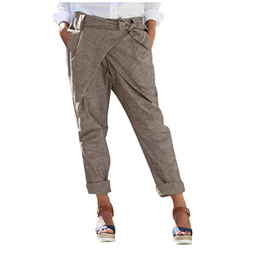 LENXH Women's Pants Solid Color Pants Linen Trousers Pocket Strap Pants Casual Pants Khaki