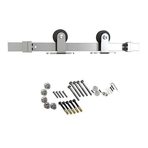 6.6ft 1 Rail Satin Nickel Brushed Steel Sliding Barn Door Hardware Track Set - Hardware Brushed Nickel Door