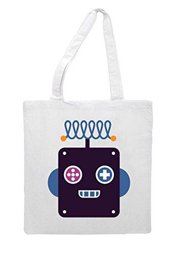 White Tote Shopper Thirteen Bag Full Vintage Robot Character SpnaA04