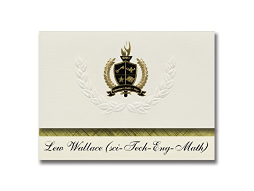 Eng Seal - Signature Announcements Lew Wallace (sci-Tech-Eng-Math) (Gary, IN) Graduation Announcements, Pack of 25 with Gold & Black Metallic Foil seal, 6.25